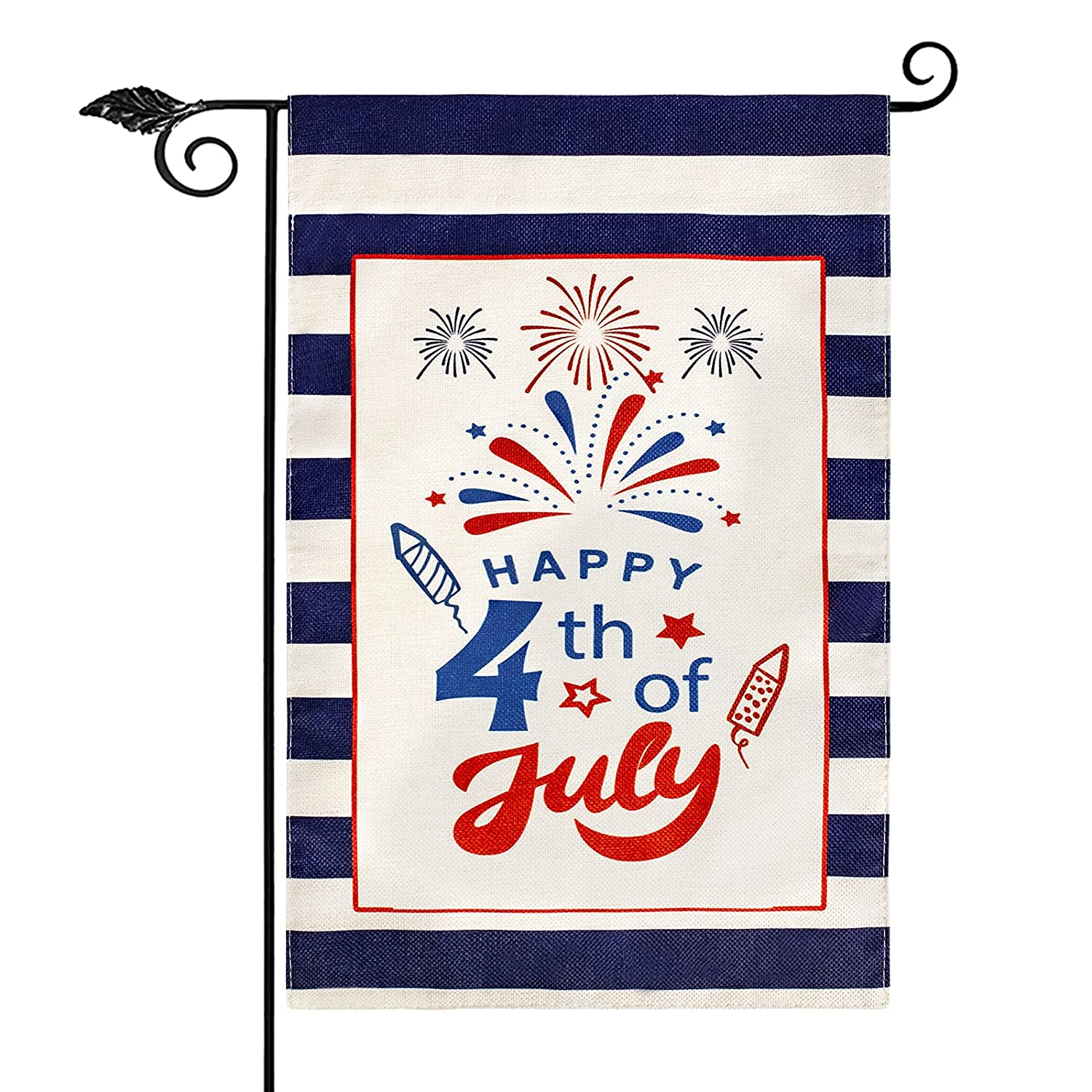 Unves Happy 4th of July Garden Flags 12.5X18, Double Sided Blue Strips Patriotic Garden Flag, Fourth of July Flag Independence Day Memorial Yard Outdoor Decoration