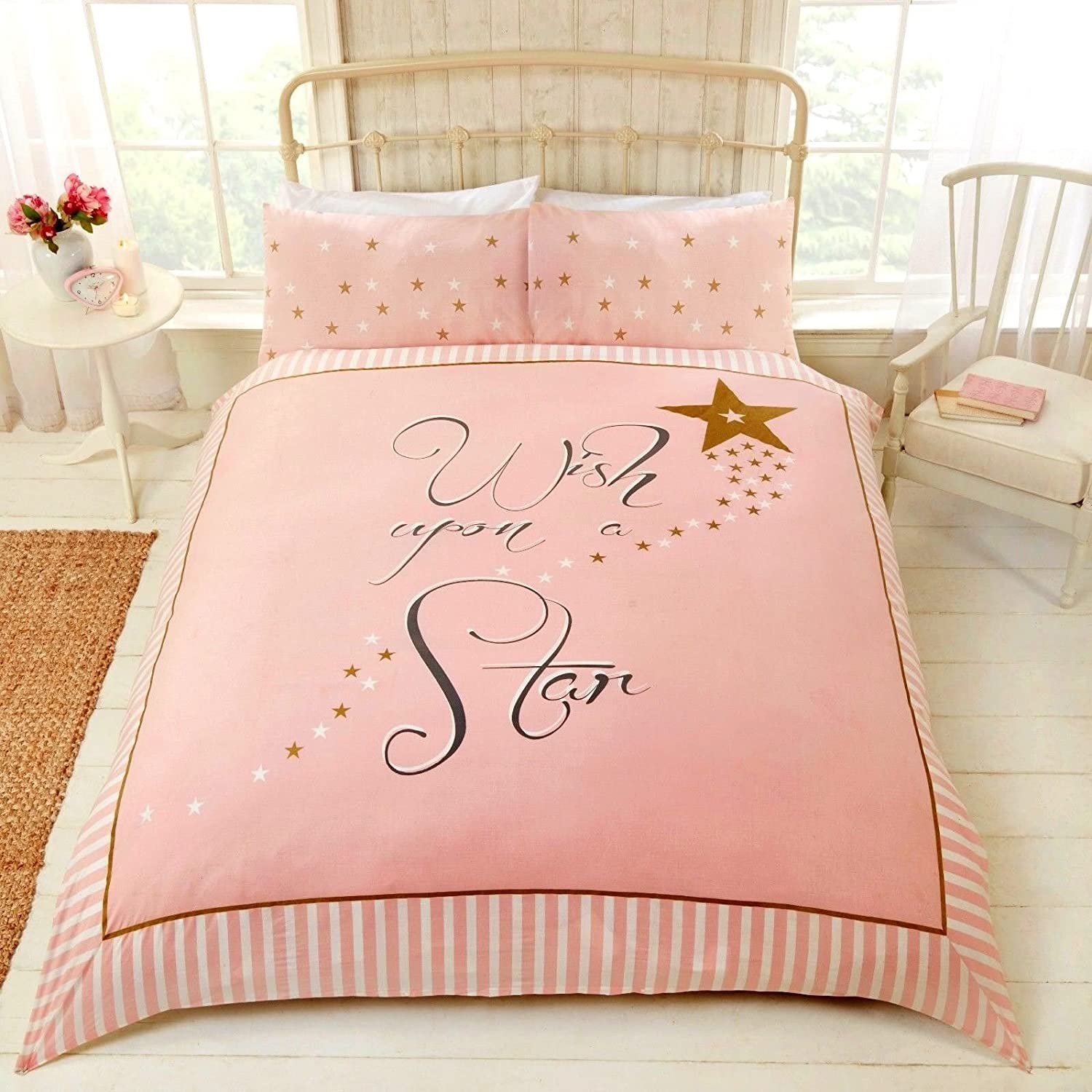 Wish Upon A Star Pink Duvet Cover Set Double Amazon Co Uk Kitchen Home