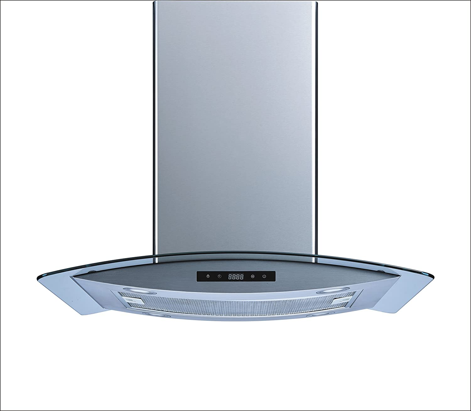 "Winflo 30"" Island Stainless Steel/Arched Tempered Glass Ducted/Ductless Kitchen Range Hood with 450 CFM Air Flow LED Display Touch Control Included Dishwasher-Safe Aluminum Filter and 4x2W LED Lights"