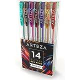 14 stylos gel Arteza à paillettes | Pointes fines de 0,8-1.0 mm | Stylos paillettes aux couleurs intenses et uniques | Feutres coloriage adultes et enfants à pointes fines | Corps triangulaire