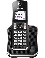 Panasonic KX-TGD310JTB Telefono Cordless Digitale Singolo, LCD Monocromatico Bianco, Schermo e Tasti Retroilluminati, Suoneria Polifonica, Blocco chiamate Indesiderate, Nero
