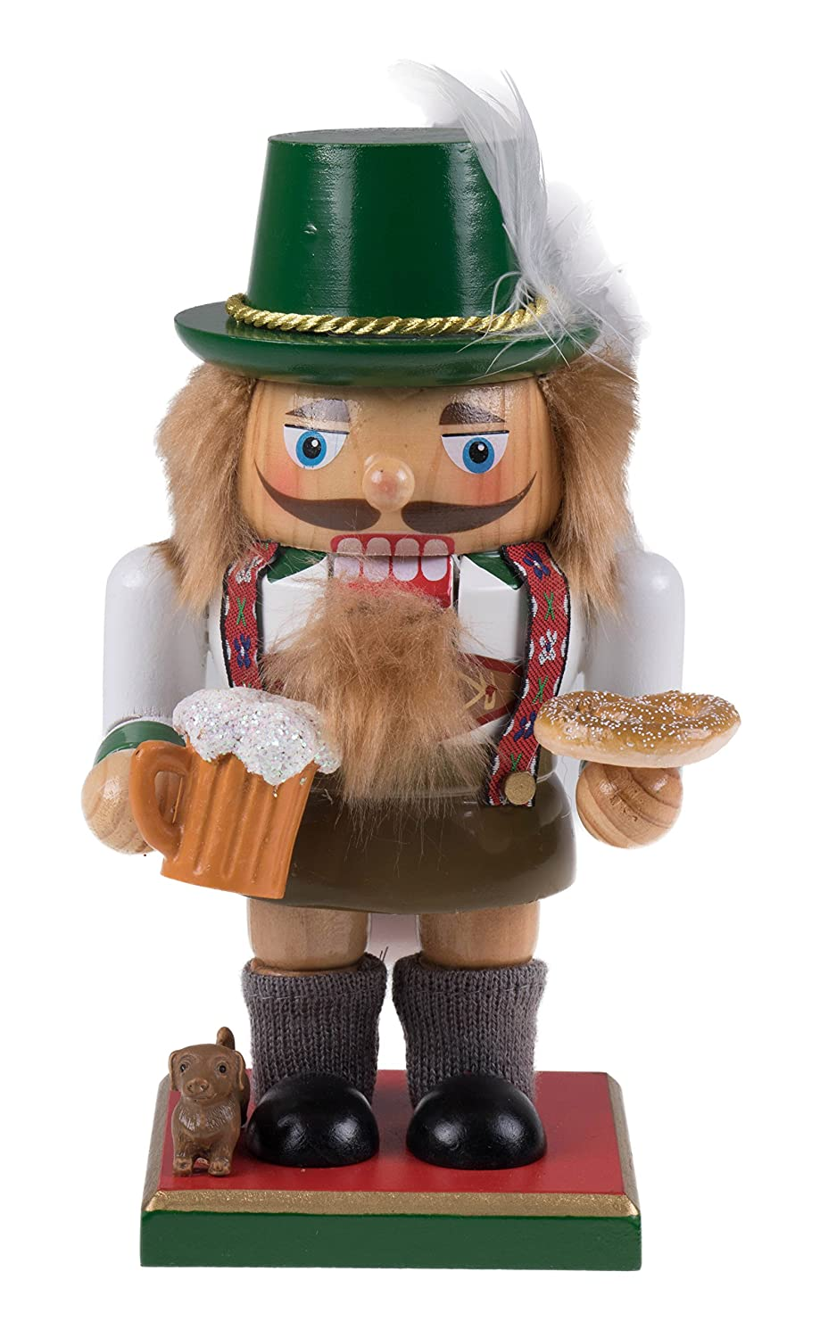 Classic Chubby German Nutcracker by Clever Creations | Wearing Lederhosen & Holding a Mug | Festive Collectible Decor | Perfect for Shelves and Tables | 100% Wood | 7.25