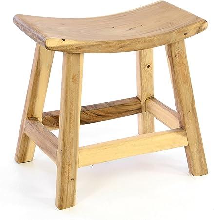 Bambus Hocker Sitzhocker Badhocker Holz Stuhl Massiv Bad Holzhocker