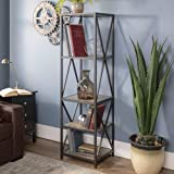 Walker Edison 4 Tier Open Shelf Wood Tall Metal...