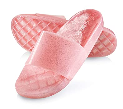 2af62aa0fdee2 Roxoni Women's Summer Flip Flop Open Toe Jelly Glitter Slide Sandal Slippers