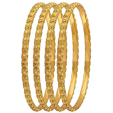 a70b18cbc3828 AFJ Gold 1 Gram Micro Gold Plated Traditional Designer Plain Bangles Sets  for Women & Girls