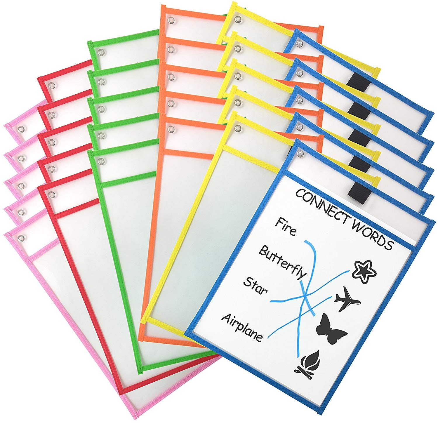 Dry Erase Pockets Worksheet Sleeves Oversize 10'' x 13'', Perfect for Classroom Organization, Reusable Dry Erase Pockets Assorted Color Teaching Supplies (30 Pack)