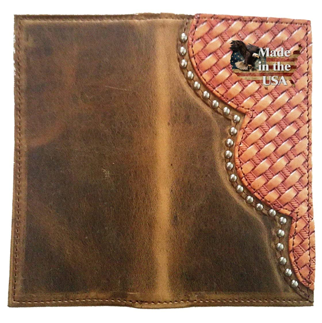 Custom Buckskin Color Pease Sign Basket Weave Long Leather Checkbook Wallet Proudly MADE IN THE USA