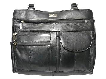 35c48bcaa547 Ladies Leather Handbag in Soft Black Leather - Shoulder Bag with 2 Top  Handles - 8
