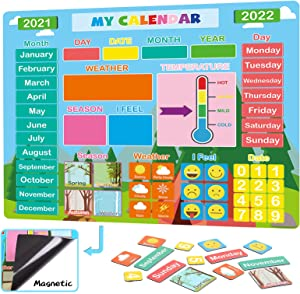 My First Daily Calendar for Kids, Magnetic Learning Calendar for Home/Classroom/Fridge, Educational Toy for Toddler/Kindergarten/Preschool, Homeschool Supplies for 3,4,5,6,7 Years Old Boy/Girl