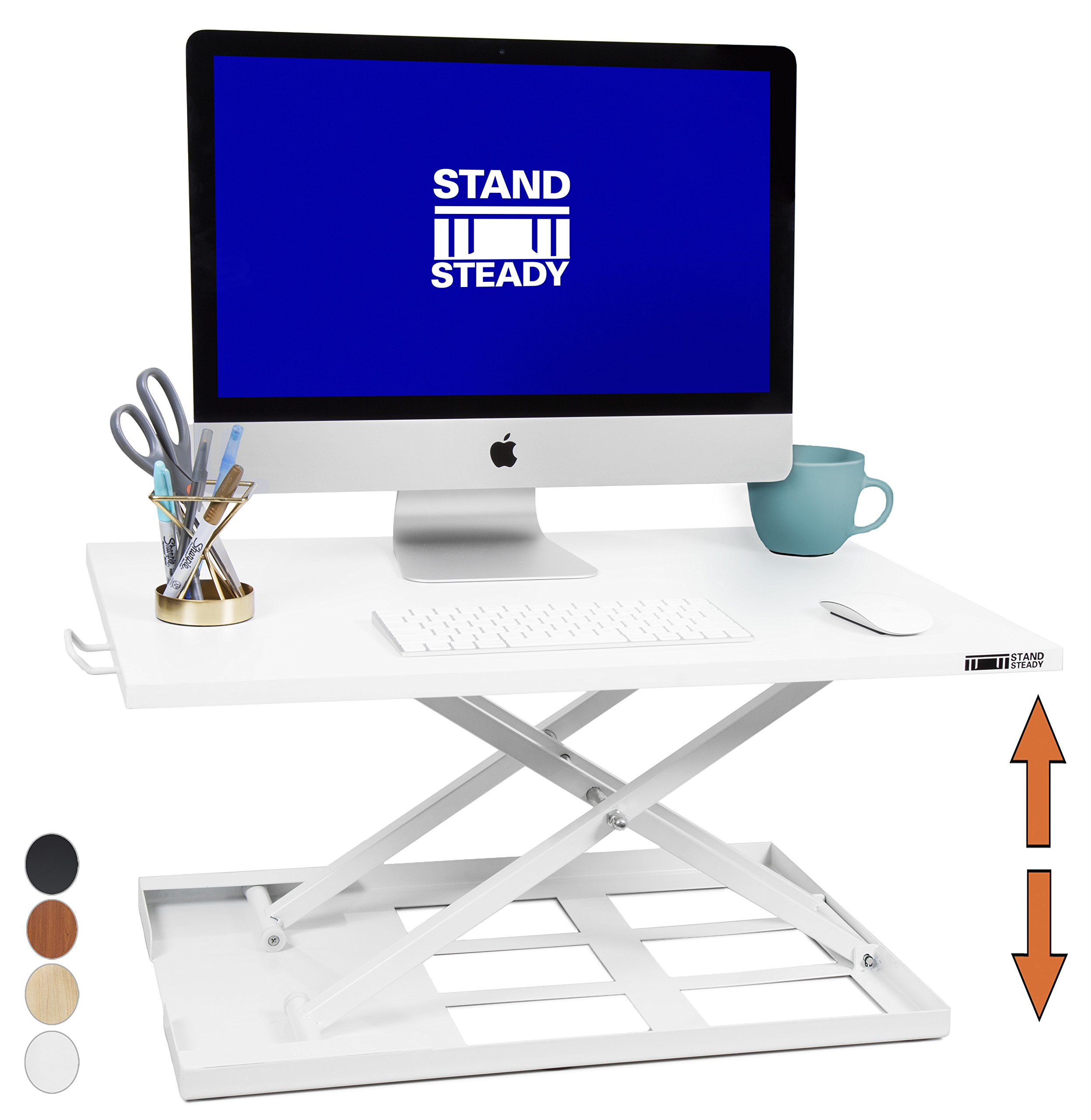 Standing Desk X-Elite - Stand Steady Standing Desk | X-Elite Pro Version, Instantly Convert Any Desk into a Sit/Stand up Desk, Height-Adjustable, Fully Assembled Desk Converter (White)