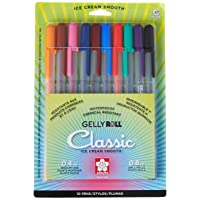 Sakura 37460 GELLY ROLL MED POINT 10PK.SET AST.CLRS, Medium Pt, Multicolor