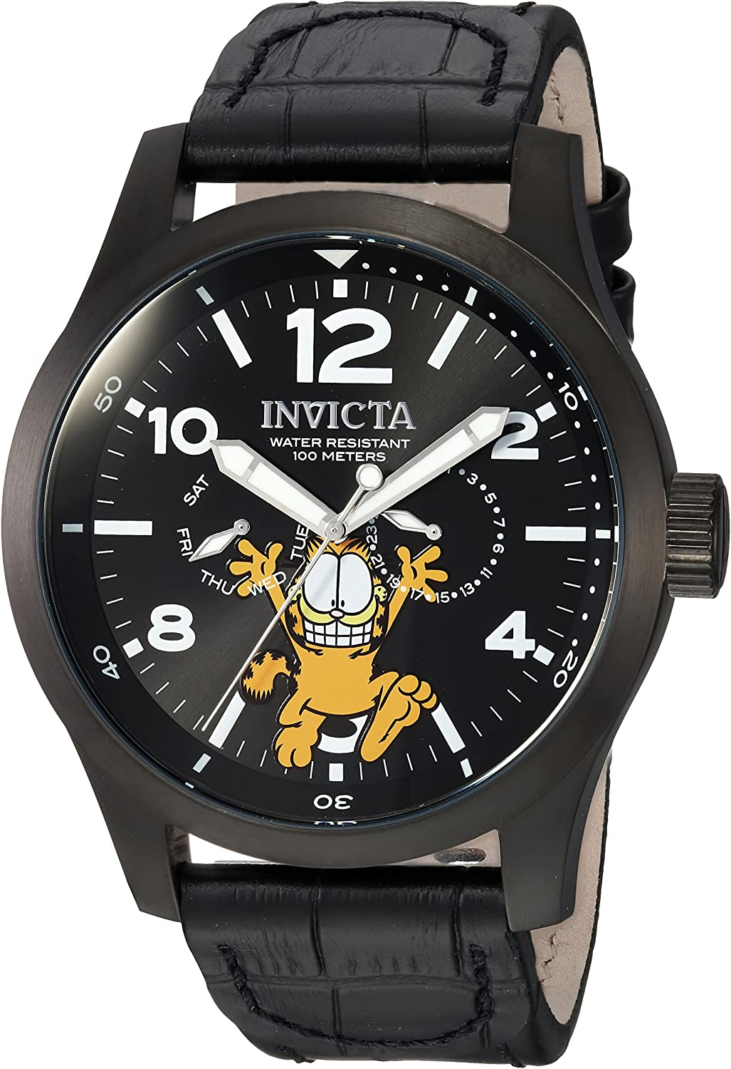Invicta Men s Character Collection Stainless Steel Quartz Watch with Leather Calfskin Strap, Black, 24 Model 24884