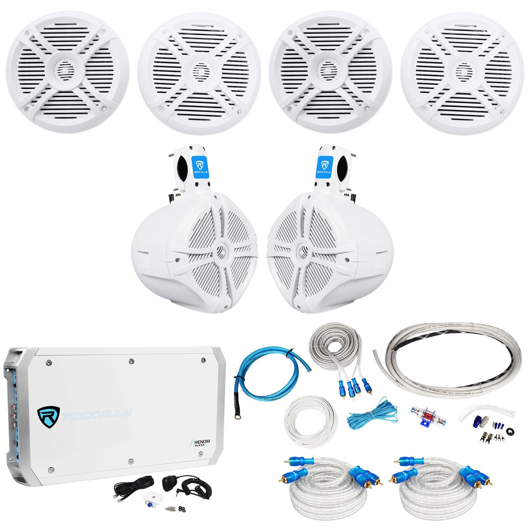 4) Rockville RMSTS65W 6.5'' 1600w Marine Boat Speakers+8'' Wakeboards+Amp+Wire Kit by Rockville (Image #1)