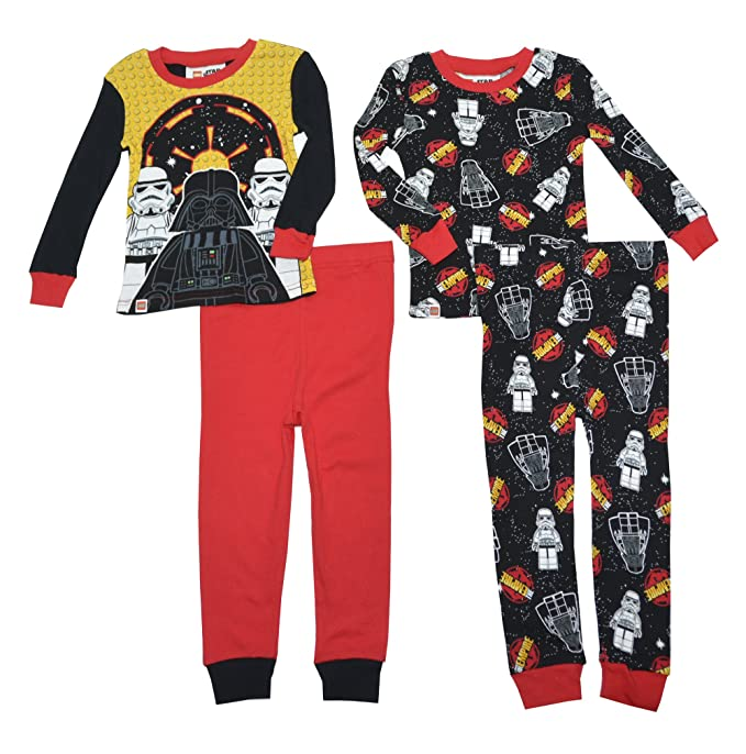 Lego Star Wars Big Boys Cotton 2-Pack Glow Pajamas (4, Black