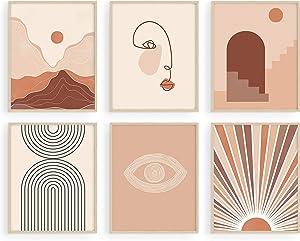 Haus and Hues Boho Prints for Wall Decor - Set of 6 Boho Posters and Boho Art Prints Mid Century Wall Art | Boho Art Wall Decor Boho Pictures Wall Decor Neutral Wall Art | UNFRAMED (8x10)