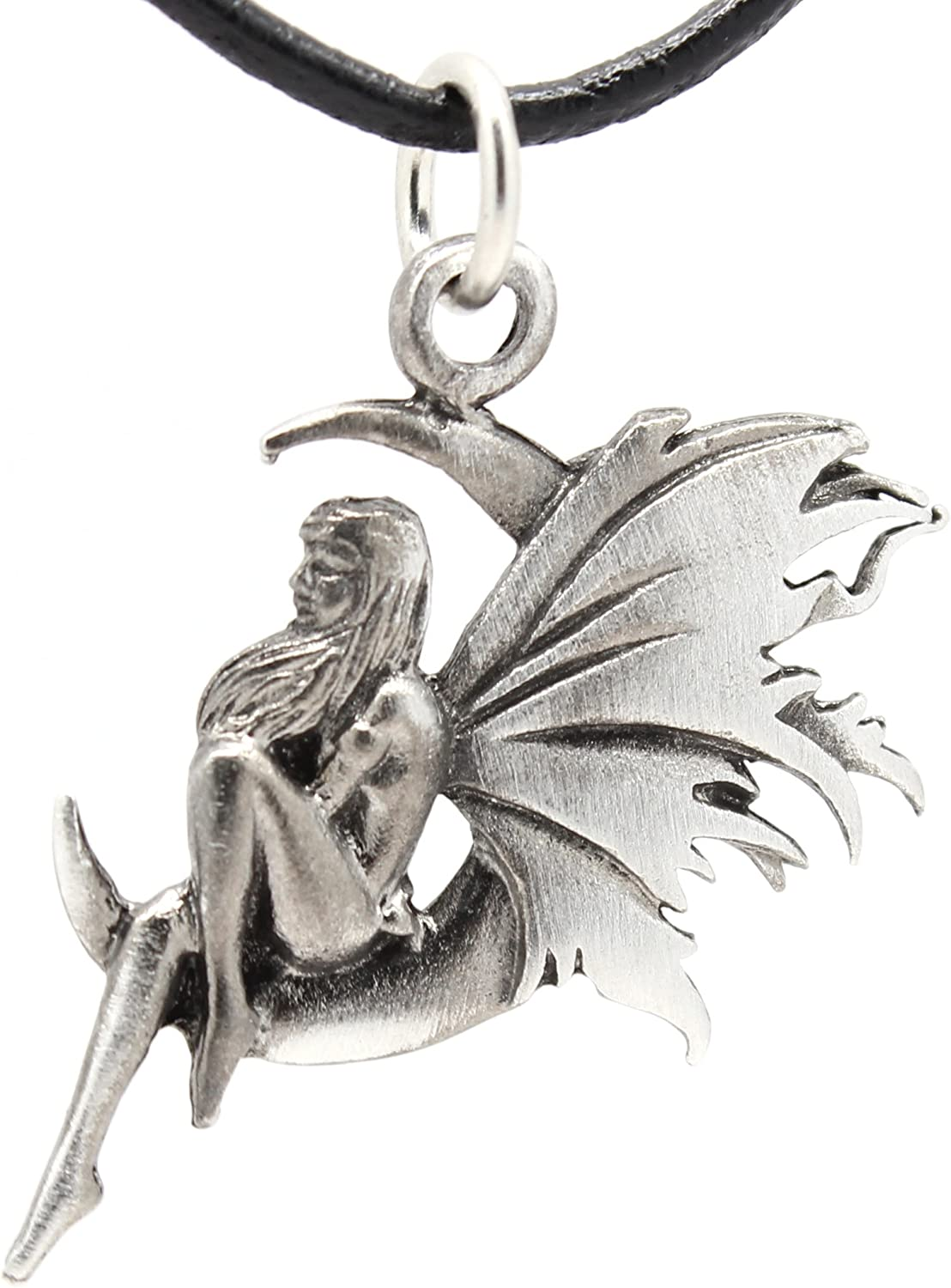 Sterling Silver Jewelry Pendants /& Charms Solid 18 mm 29 mm Antiqued Fairy Pendant