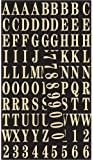 Hy-Ko MM-2 Gold Self-Stick Numbers & Letters Pack, 1""