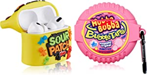 Lupct for Airpod Pro Silicone Case, Soft Cartoon Fashion 3D Cute Food Design Air Pods Cover Girls Women Funny Fun Cool Kawaii Keychain Cases for AirPods Pro (Bubble Gum+Yellow Sour Sweet) (2 Packs)