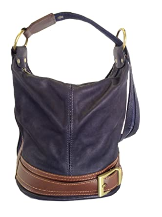 28dd007d5728 Genuine Soft Italian Leather Navy Blue   Brown Shoulder Bag