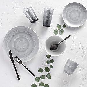 Safdie & Co.Premium Dinnerset DINNERSET 16PCS PRC GREY STONE