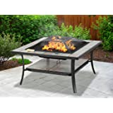 Centurion Supports SHANGO Premium Multi-Functional Black with Ceramic Tiles Outdoor Garden & Patio Square Heater Fire Pit Brazier and Outdoor Table