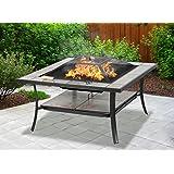 Centurion Supports Shango Multifunktions-Gartentisch, Schwarz, mit Keramik-Fliesen, Outdoor & Terrasse, mit Feuerstelle/Grill