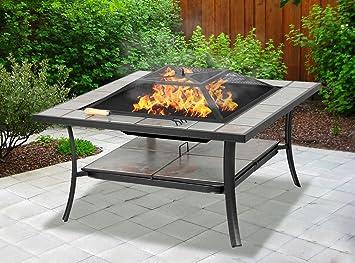 Centurion Supports Shango Mesa multifuncional negra con azulejos de cerámica para jardín y patio, con hueco central; se puede utilizar como mesa normal, ...