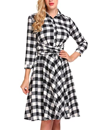 4b1b705664a BURLADY Women s Plaid Dress - Girl s 3 4 Sleeve Button Down Checker Shirt  Dress with