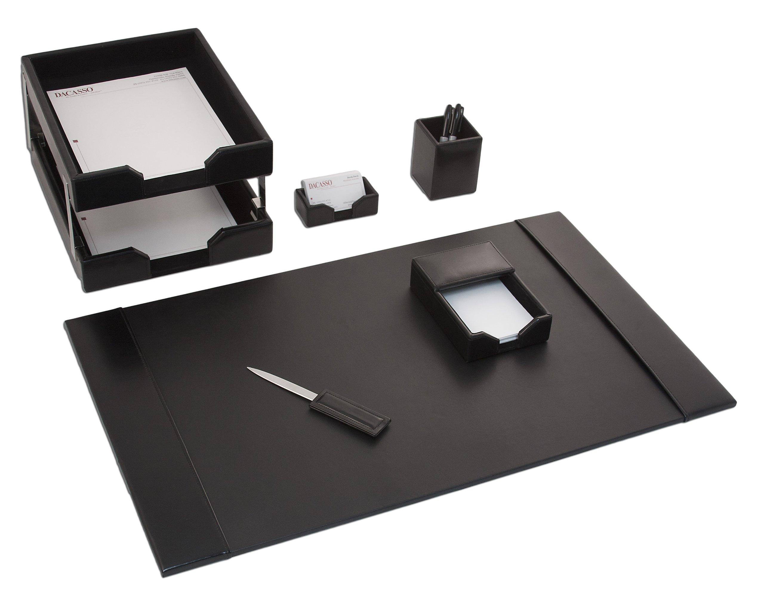 Dacasso Black Bonded Leather Desk Set, 8-Piece