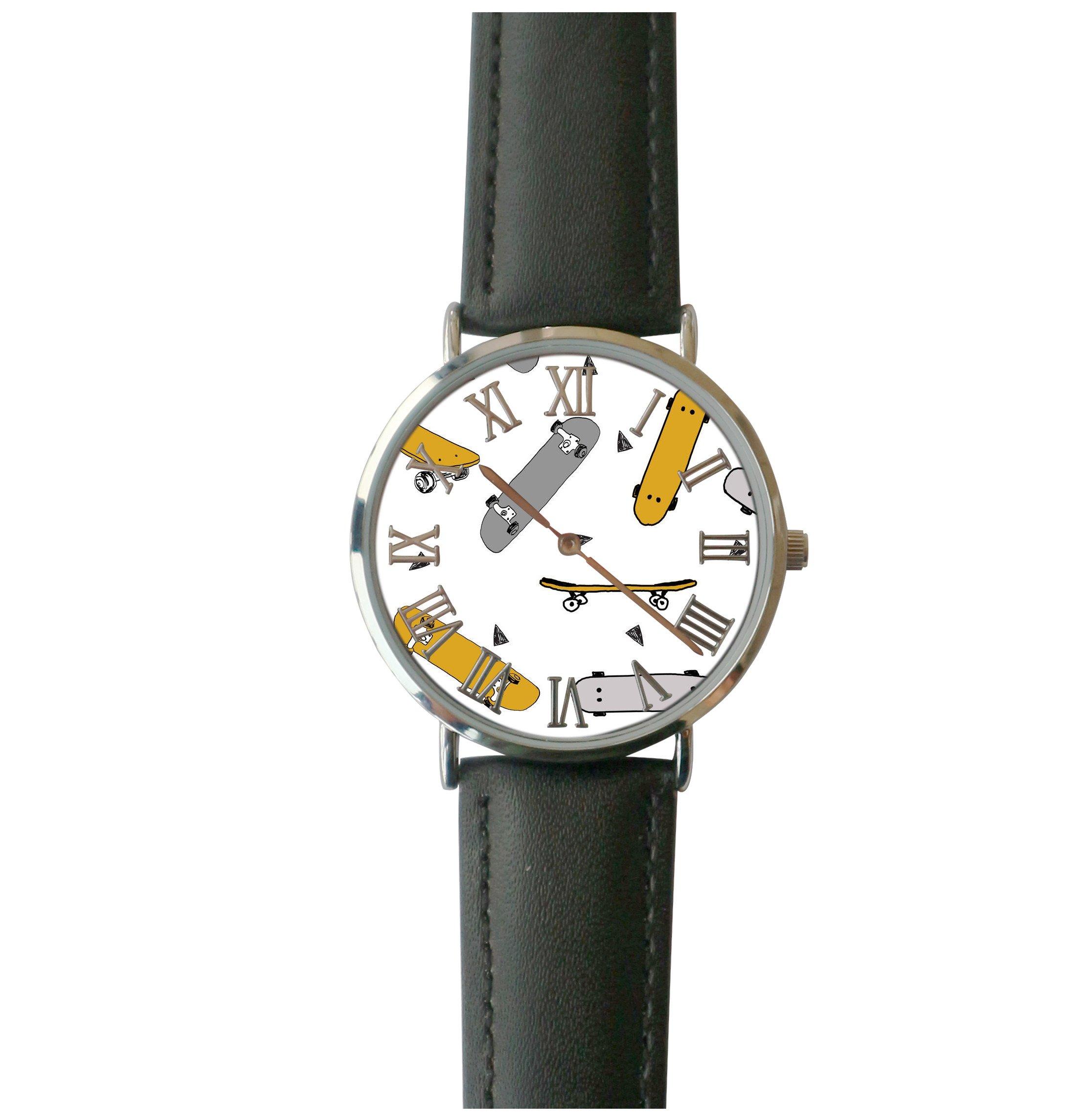 JISJJCKJSX Gray Mustard Skateboard custom watches quartz watch stainless steel case
