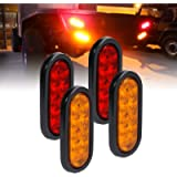 2 Red + 2 Amber 6' Oval LED Trailer Tail Light Kit [DOT FMVSS 108] [Grommets & Plugs Included] [IP67 Waterproof] [Stop…