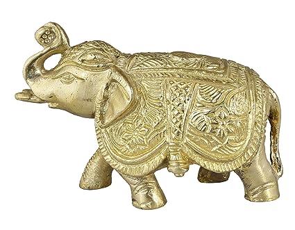 SKAVIJ Brass Elephant Show Piece Big Size Figurine For Living Room  Height  2.5 Inches