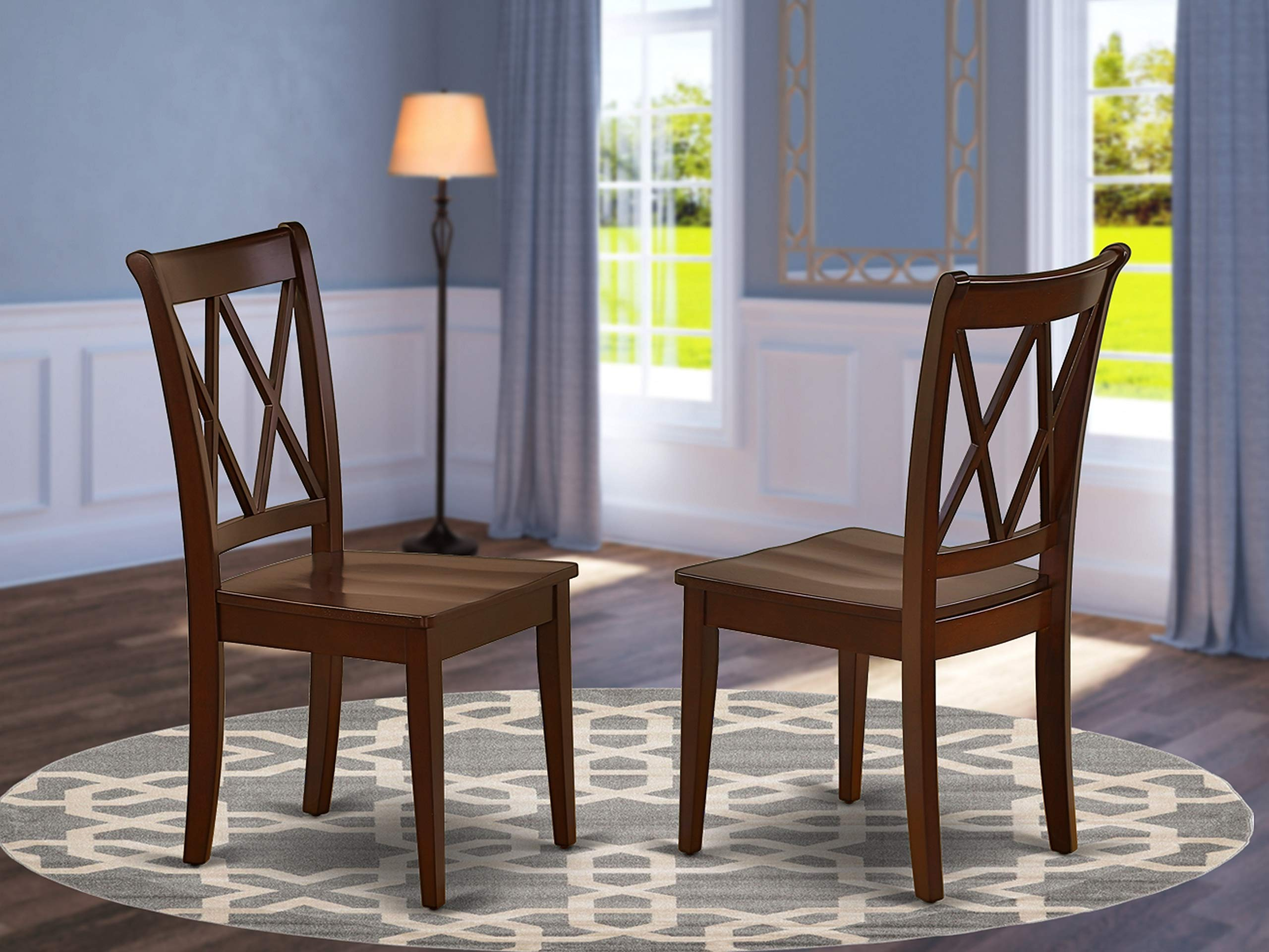 East West Furniture CLC-MAH-W Clarksville Formal Double X-Back Chairs in Mahoganyh Finish (Set of 2), Mahogany by East West Furniture