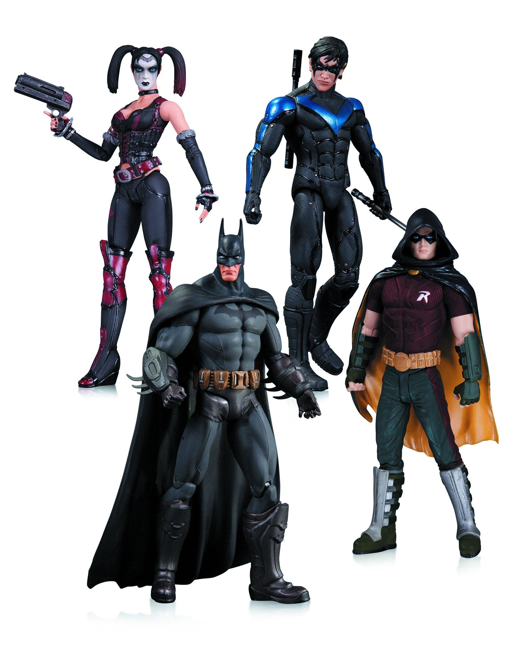 Arkham City Harley Quinn, Batman, Nightwing, and Robin 4 Pack