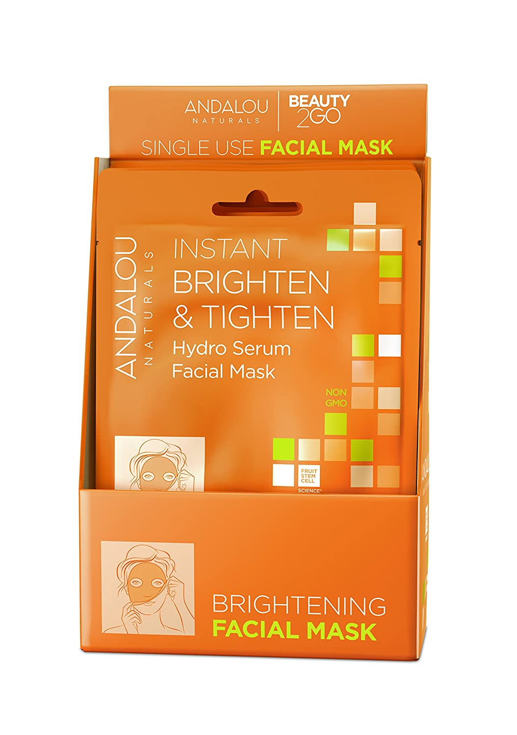 Amazon.com: Andalou Naturals Instant Hydration Hydro Serum Facial Mask, 0.6 Fluid Ounce, 6 Count: Beauty