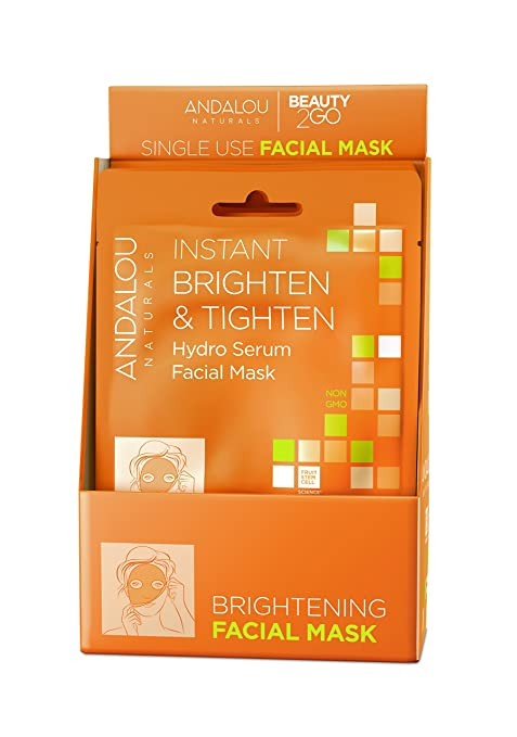 Andalou Naturals Instant Brighten And Tighten Hydro Serum Facial Mask, 0.6 Fluid Ounce, 6 Count by Andalou Naturals