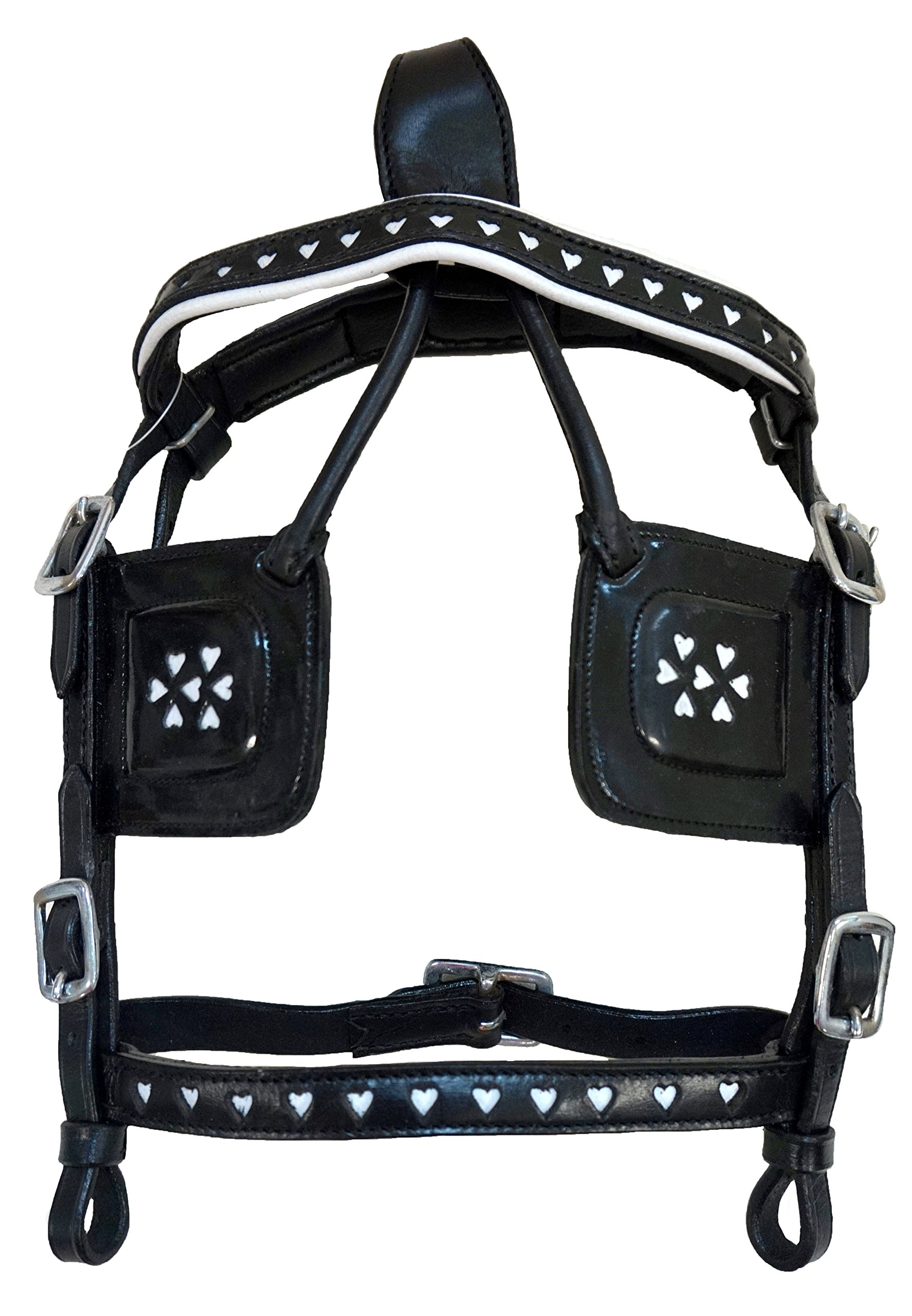 Black Leather Mini Pony Driving Harness with White Hearts