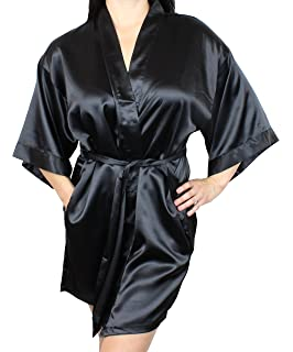 0d278bf67a Ms Lovely Women s Satin Kimono Bridesmaid Short Robe with Pockets - Silky  Feel Modern Cut