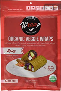 product image for WrawP Spicy 1 Pack Organic Spicy Jalapeno & Turmeric Veggie Wraps | Plant-Based Wheat-Free Gluten Free Paleo Wraps Non-GMO Vegan Friendly Made in the USA