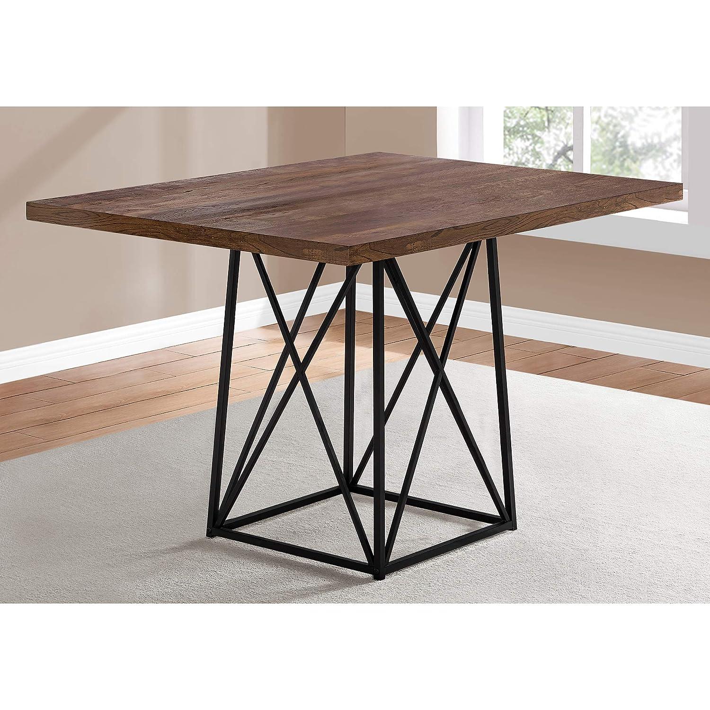 36 x 48 Brown Reclaimed Wood-Look//Black Base Monarch Specialties 1107 Dining Table Metal