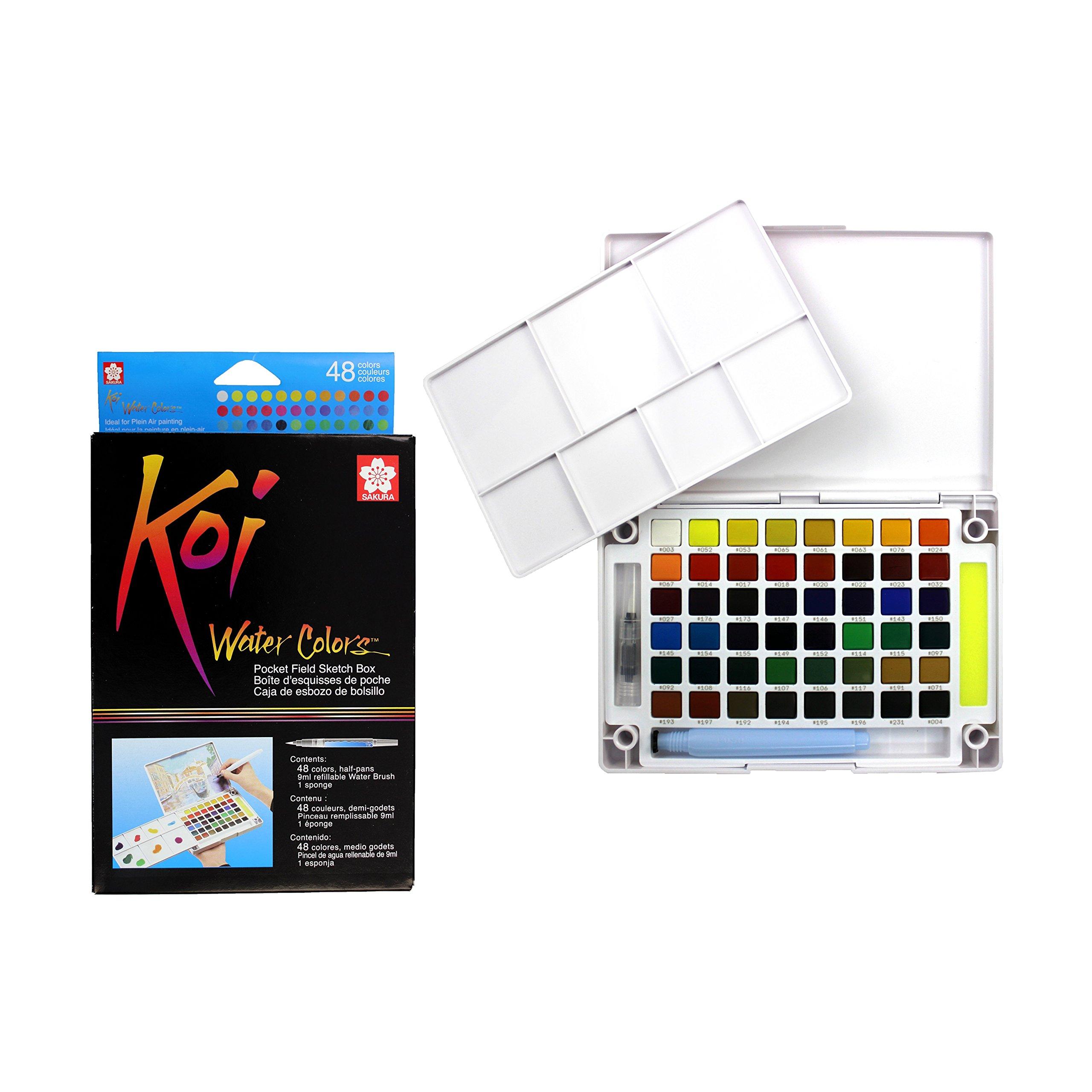 Sakura XNCW-48N Assorted Brush Koi Watercolor Field 48 Color Sketch Set, by Sakura