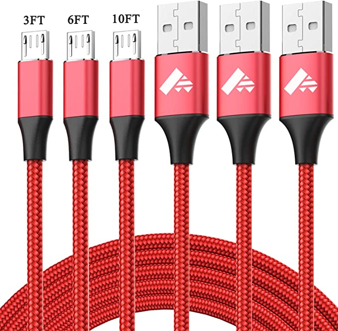 Micro USB Cable Aioneus Fast Charging Cord Android Charger 10FT 6FT 3FT 3-Pack Charging Cable Nylon Cable Charger Cord Compatible with Samsung Galaxy ...