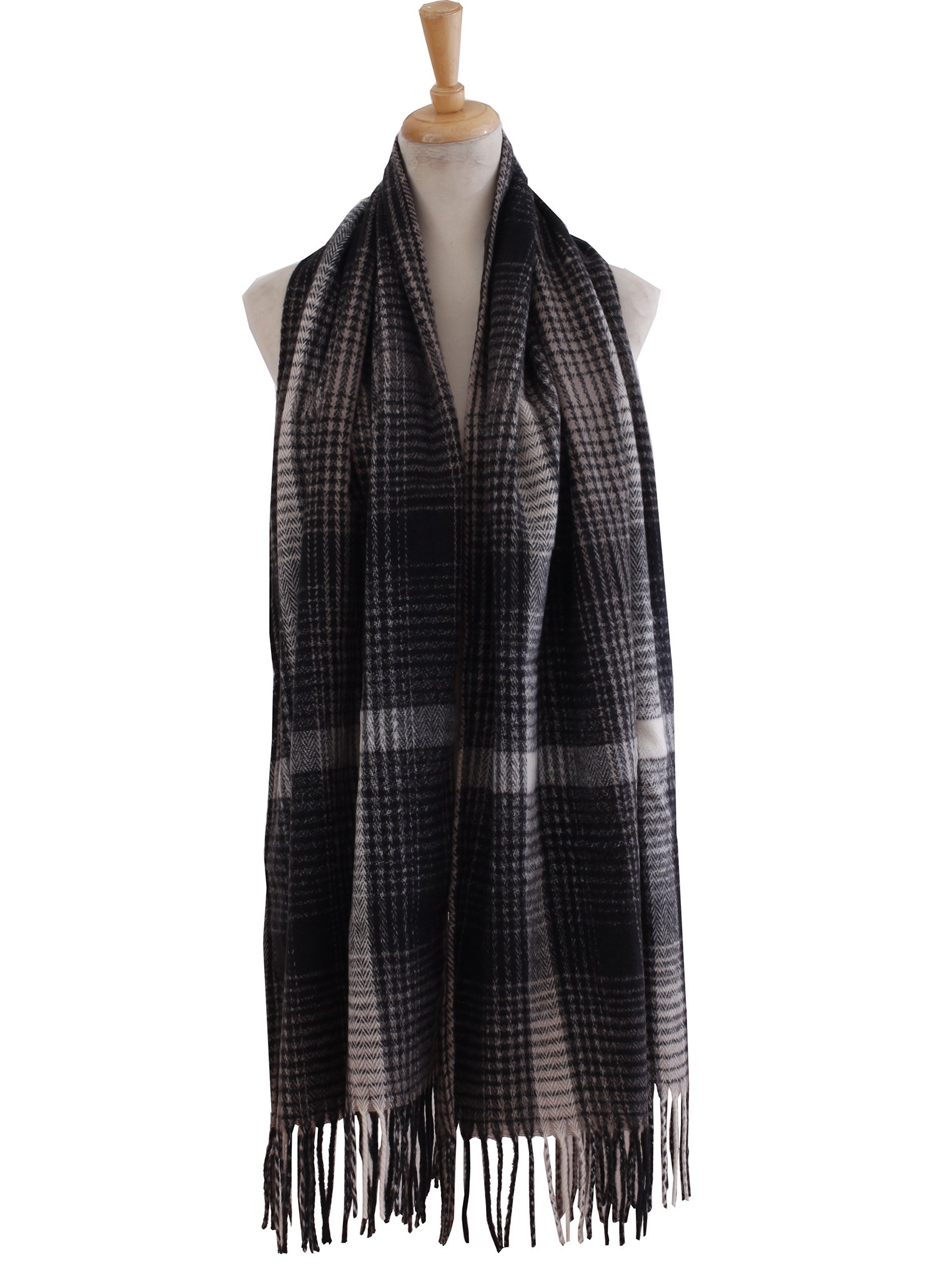 Checkered Scarf Muffler Chunky Warm Classic For Cold Weather Girls (Black)