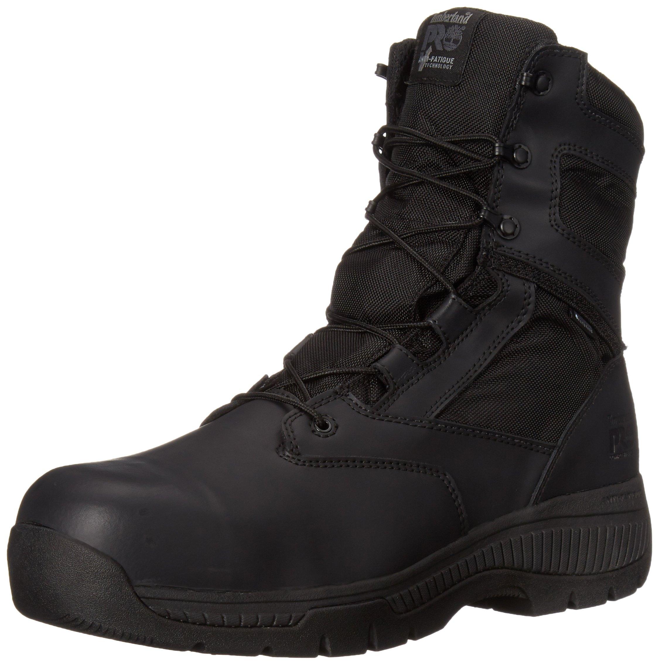 Timberland PRO Men's 8 Inch Valor Comp Toe Waterproof Side Zip Work Boot, Black Smooth Leather Ballistic Nylon, 11.5 M US