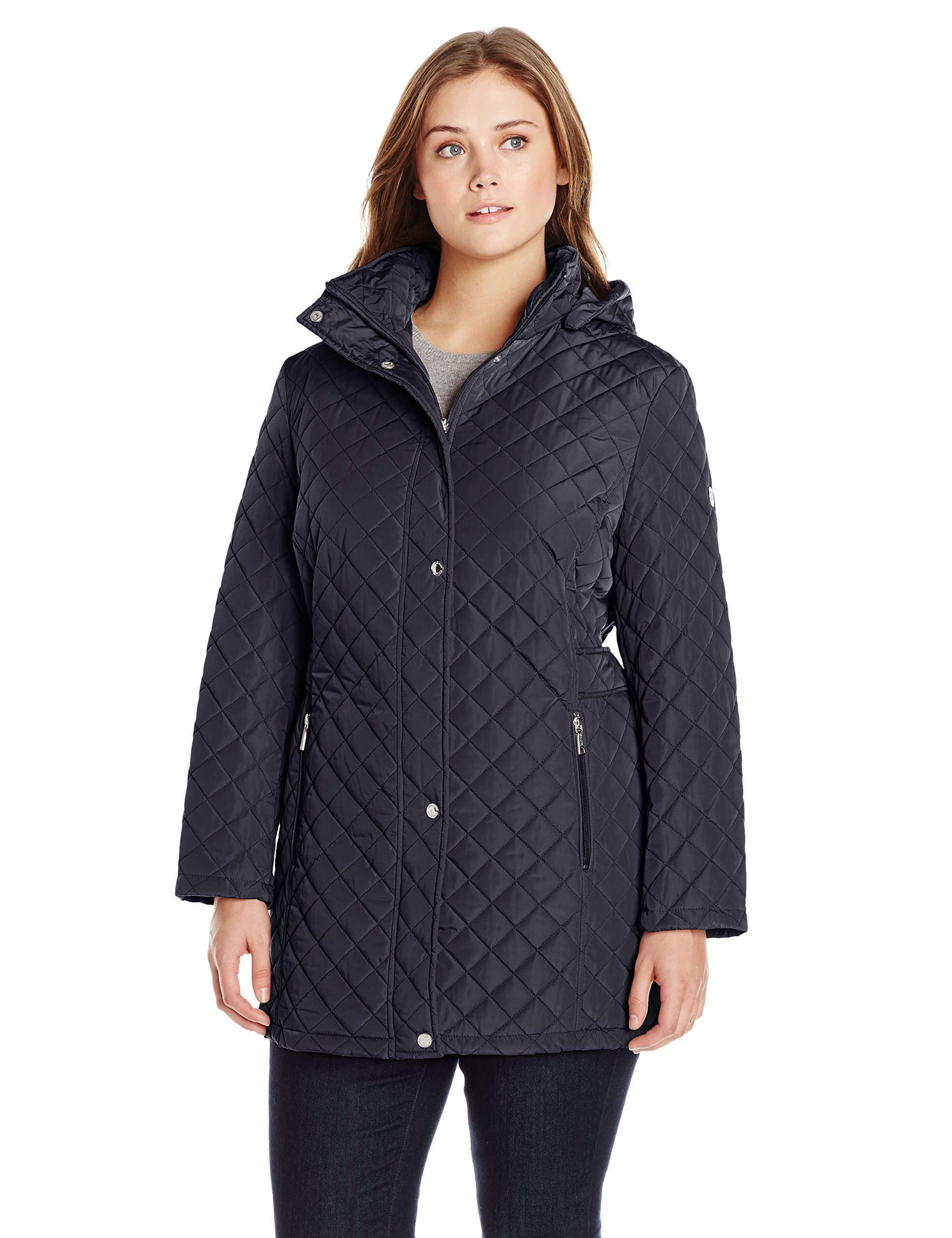 Calvin Klein Women's Plus-Size Classic Quilted Jacket with Side Tabs, Navy, 2X by Calvin Klein