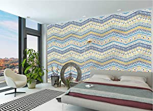 LCGGDB Chevron Wall Stickers Murals,Hand Drawn Pastel Color Paperhanging Wallpaper for Office Livingroom Girls Bedroom Family Wall Decals-118x83 Inch