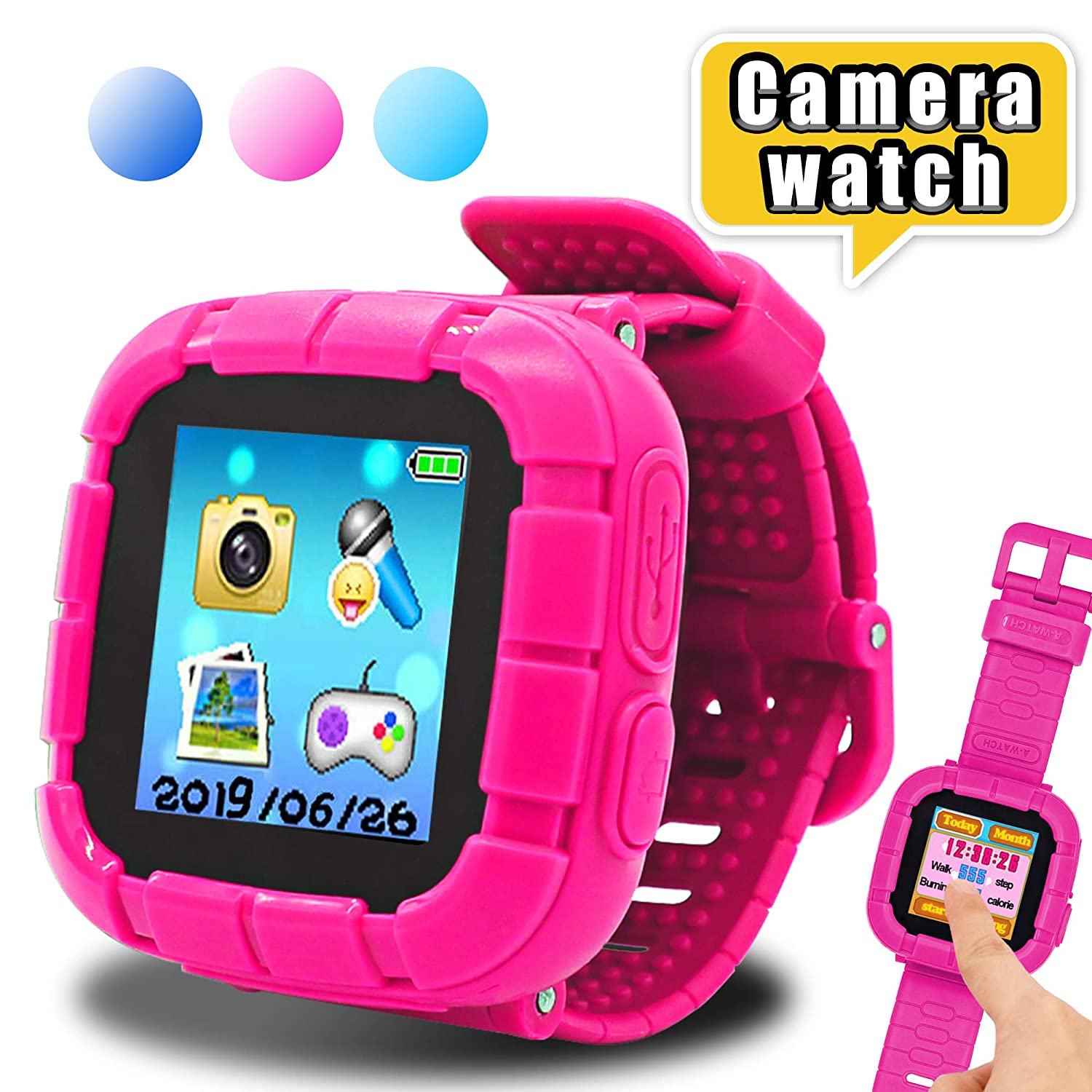 Yehtta Gifts for 3-8 Year Old Girls Smart Watch for Kids Samrtwatch Touchscreen Kids Watches Girls Alarm Clock Electronic Toys for Kids Pink