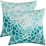 Pack of 2 CaliTime Cushion Covers Throw Pillows Cases Shells, Manual Hand Painted Print Colorful Dahlia Both Sides, 18 X 18 Inches, Teal
