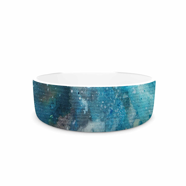 KESS InHouse Li Zamperini Planet bluee Teal Watercolor Pet Bowl, 7  Diameter
